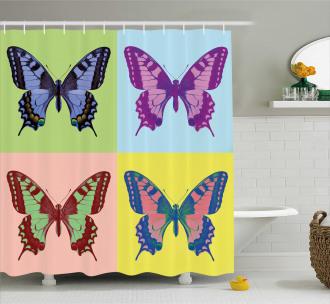 Pop Art Swallowtail Shower Curtain