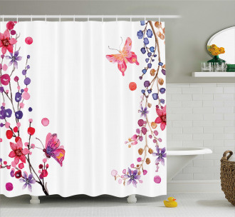 Floral Art and Butterfly Shower Curtain