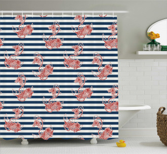 Anchor Striped Backdrop Shower Curtain