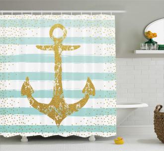 Marine Golden Anchor Shower Curtain