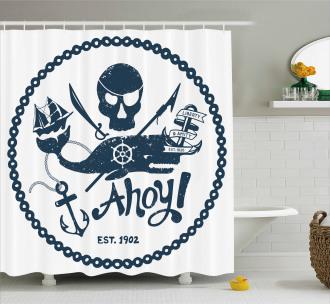 Nautical Pirate Skull Shower Curtain