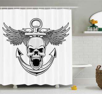 Skull Anchor Eagle Shower Curtain