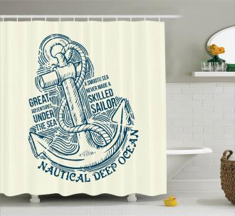 Vintage Nautical Sea Shower Curtain