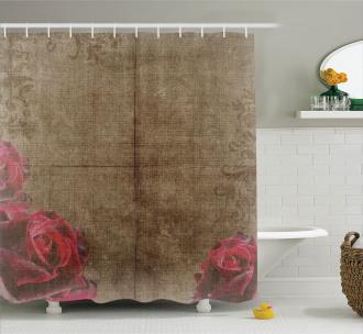 Vintage Roses Frame Shower Curtain