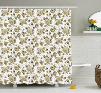Floral Bloom Pattern Shower Curtain