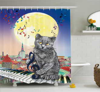 Musical Notes Cat Shower Curtain