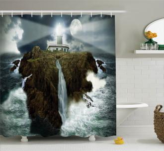 Rocks Stormy Sealife Shower Curtain