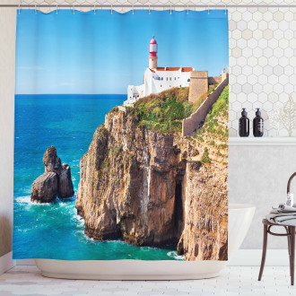 Cliff Rocks Sunny Day Shower Curtain