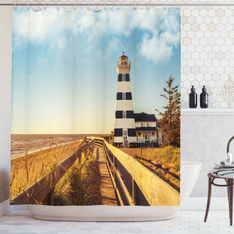 Lighthouse Sea Waves Shower Curtain