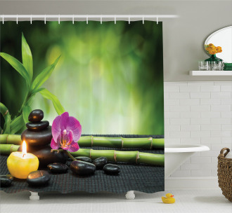 Orchid Bamboo Stems Shower Curtain