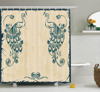 Vintage Peacock Bird Shower Curtain