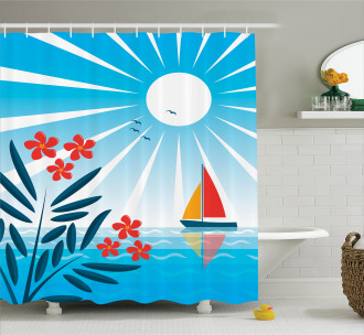 Oleanders and Sailboat Shower Curtain