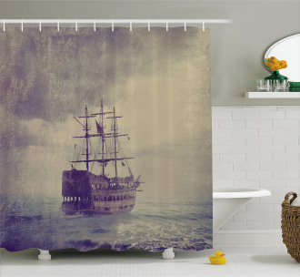 Old Pirate Ship in Sea Shower Curtain
