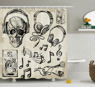 Music Hipster Skull Shower Curtain