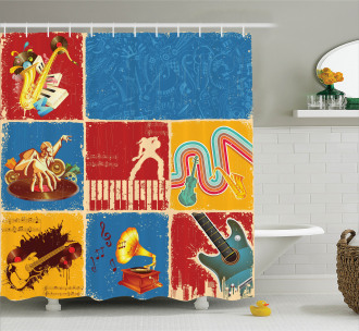 Music Jazz Grunge Boho Shower Curtain