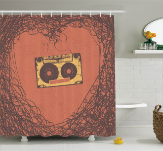 Retro Cassette Music Shower Curtain