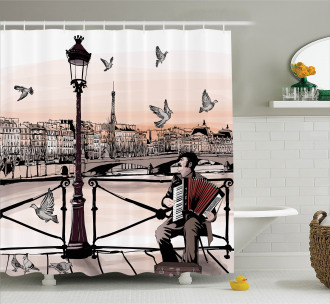 Music Accordionist Paris Shower Curtain