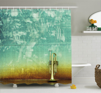 Old Worn Trumpet Grungy Shower Curtain