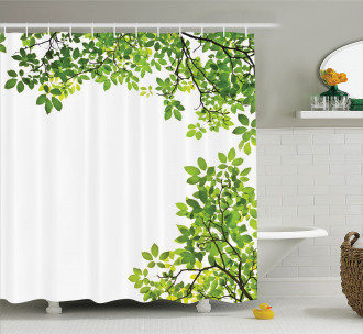 Fresh Branch with Leaves Shower Curtain