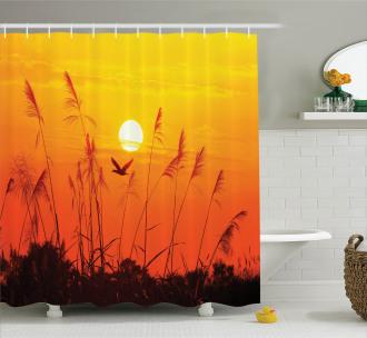 Flying Birds at Dusk Shower Curtain