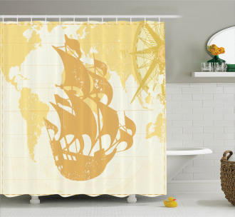 Old World Map Sailboat Shower Curtain