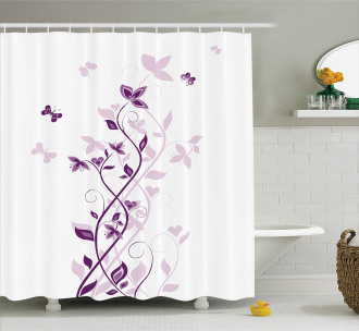 Violet Tree Blossoms Shower Curtain