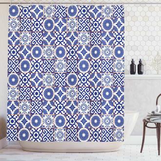 Old Retro Artful Tiles Shower Curtain