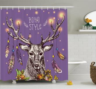 Wild Rein Deer Hand Drawn Shower Curtain