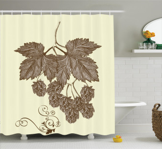 Retro Branch Leaves Shower Curtain