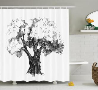 Olive Tree Retro Nature Shower Curtain