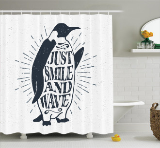 Penguin and Quote Shower Curtain