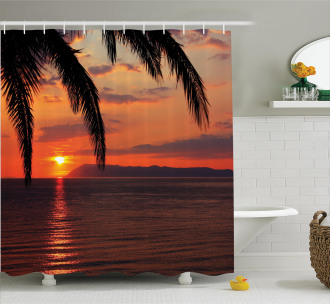 Sunrise on Sea and Palms Shower Curtain