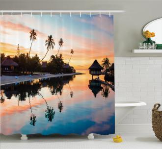 Sunset Moorea Island Shower Curtain