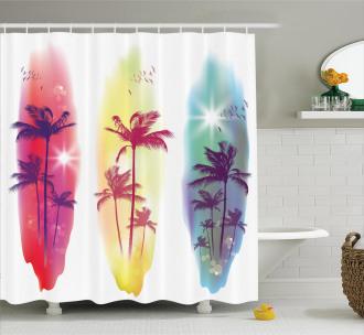 Palm Trees Seagulls Shower Curtain