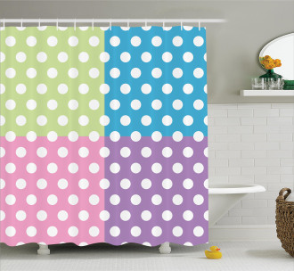 Polka Dots Patchwork Shower Curtain