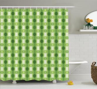 Polka Dots Striped Retro Shower Curtain