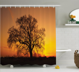 Old Oak at Sunset View Shower Curtain