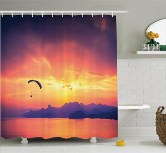 Paragliding at Sunset Shower Curtain