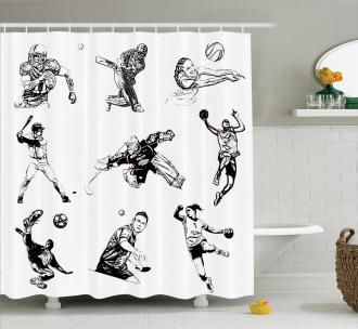 Sports Theme Sketch Shower Curtain
