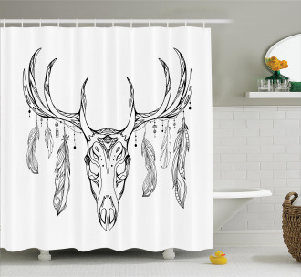 Skull with Antler Feather Shower Curtain