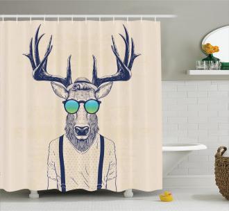 Hipster Cool Fun Animal Shower Curtain