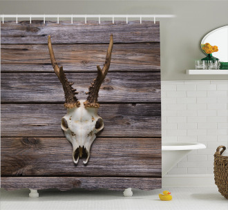 Rustic Antlers on Wood Shower Curtain