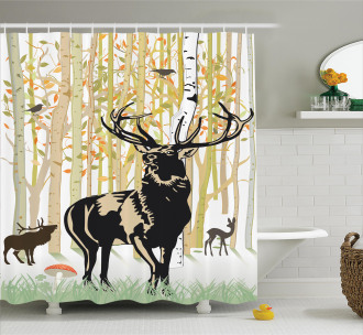 Autumn Forest Wild Animal Shower Curtain