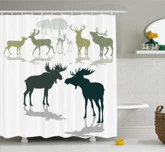 Elk Deer Fawn Forest Shower Curtain