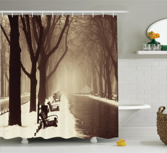 Street View Foggy Day Shower Curtain