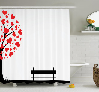 Tree Heart Leaves Shower Curtain