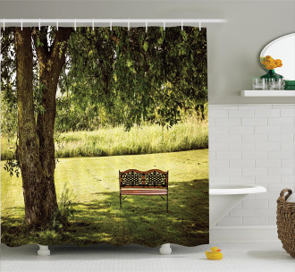 Wooden Bench at Park Shower Curtain