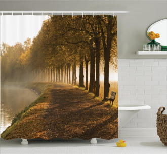 Walkway at Canal Misty Shower Curtain