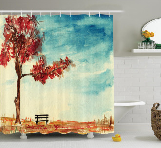 Watercolor Artwork Bench Shower Curtain