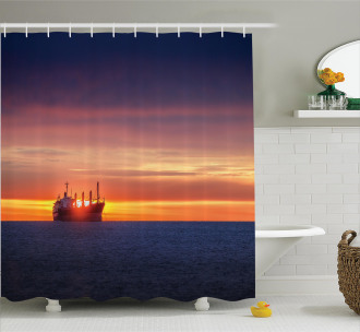 Sunrise over Sea Ship Shower Curtain